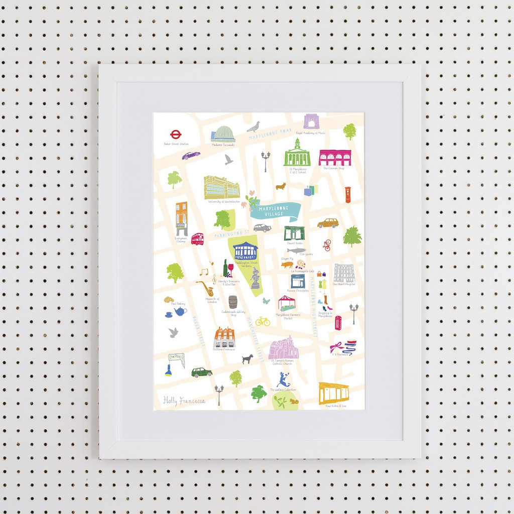 Illustrated hand drawn Map of Marylebone art print by artist Holly Francesca.
