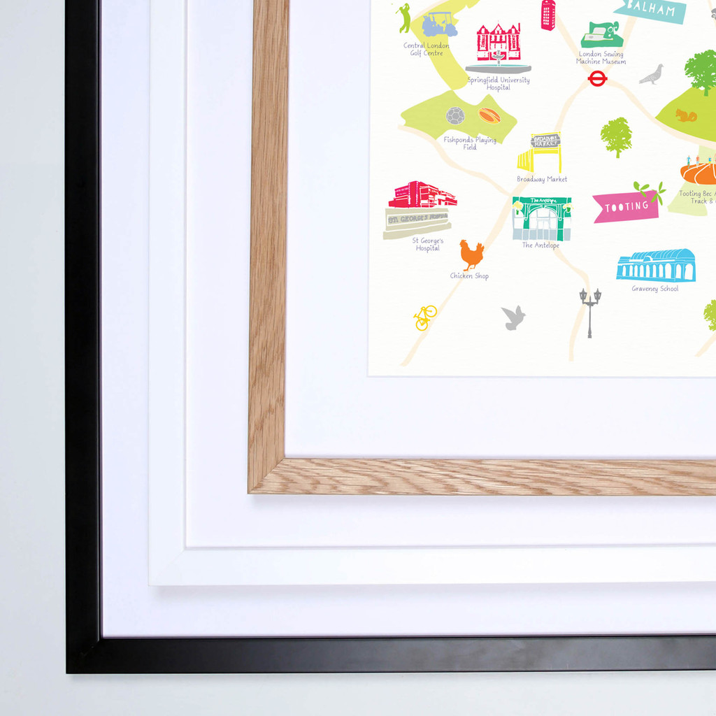 Illustrated hand drawn Map of Balham, Tooting & Streatham art print by artist Holly Francesca.