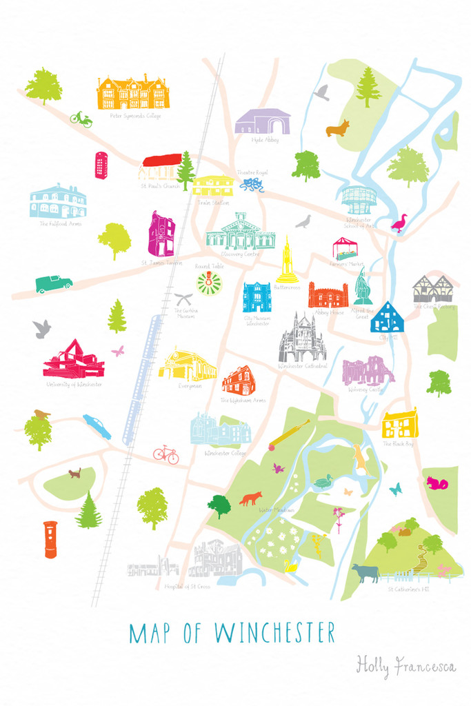 Illustrated hand drawn Map of Winchester art print by artist Holly Francesca.