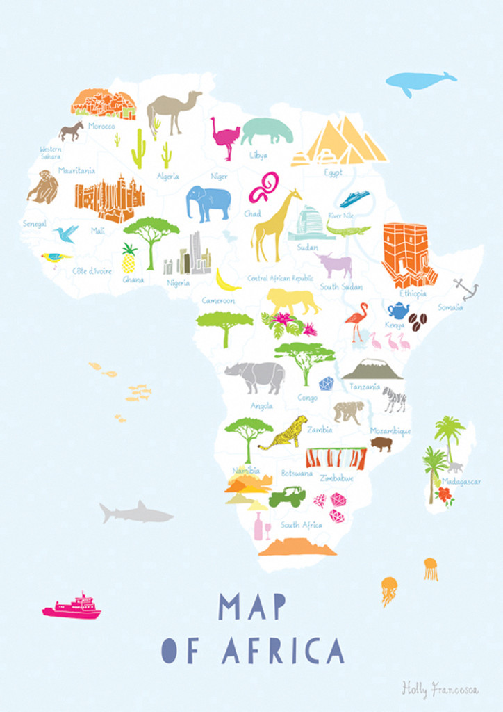 Illustrated hand drawn Map of Africa art print by artist Holly Francesca.