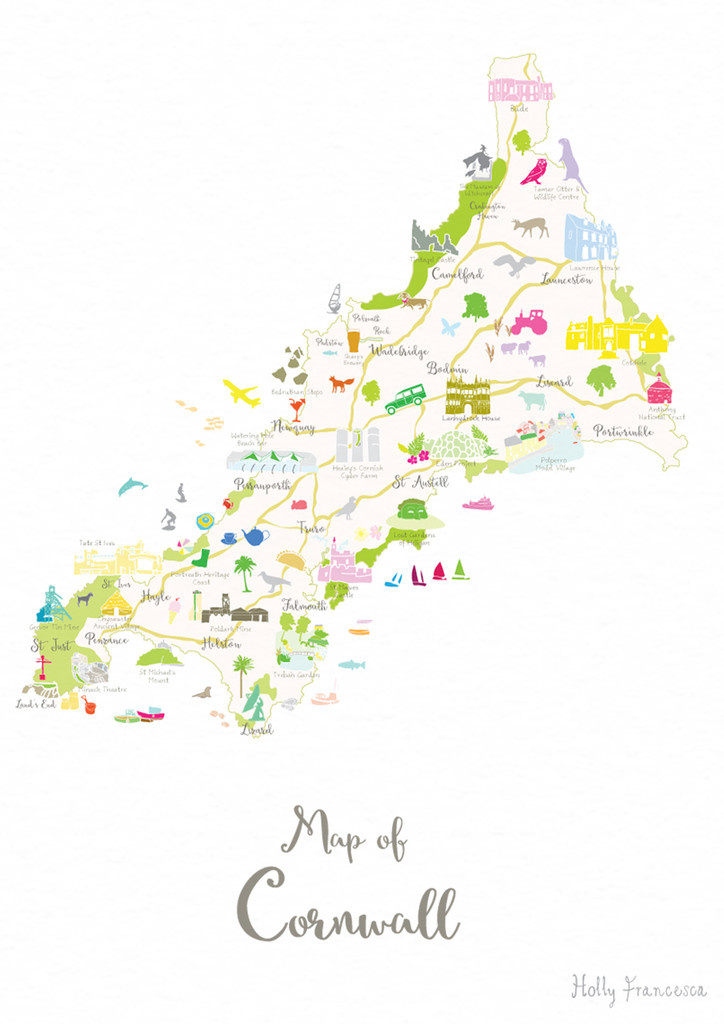 Map of Cornwall in South West England unframed print illustration
