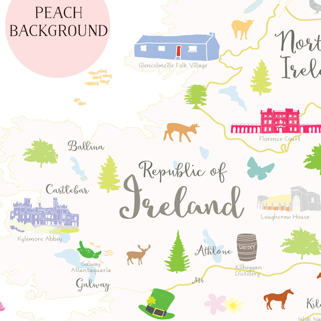 Illustrated hand drawn Map of Ireland by UK artist Holly Francesca.