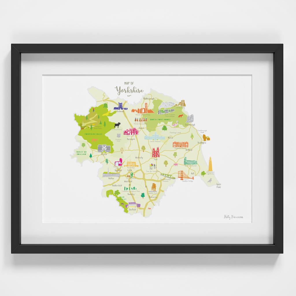 Map of Yorkshire England framed print illustration