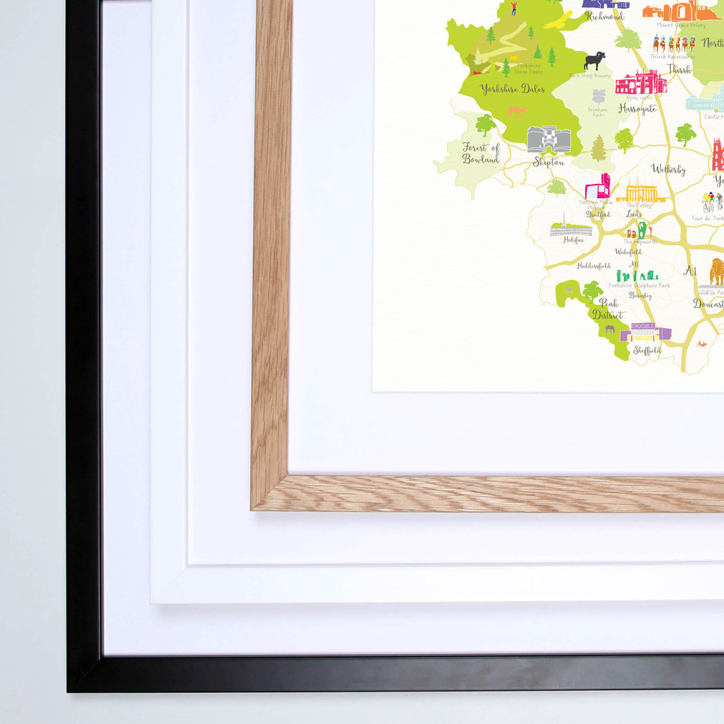 Map of Yorkshire England framed print illustration
