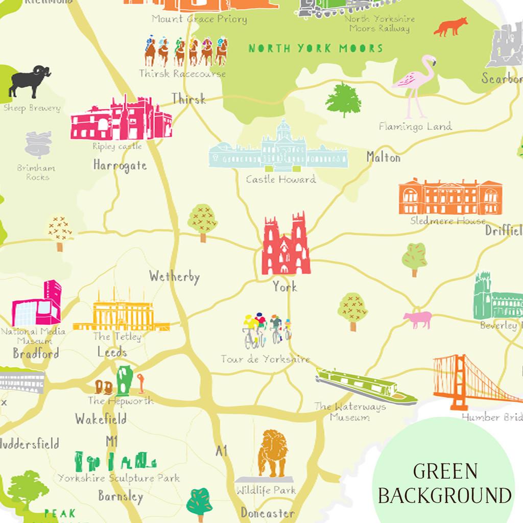 Map of Yorkshire England Unframed print illustration