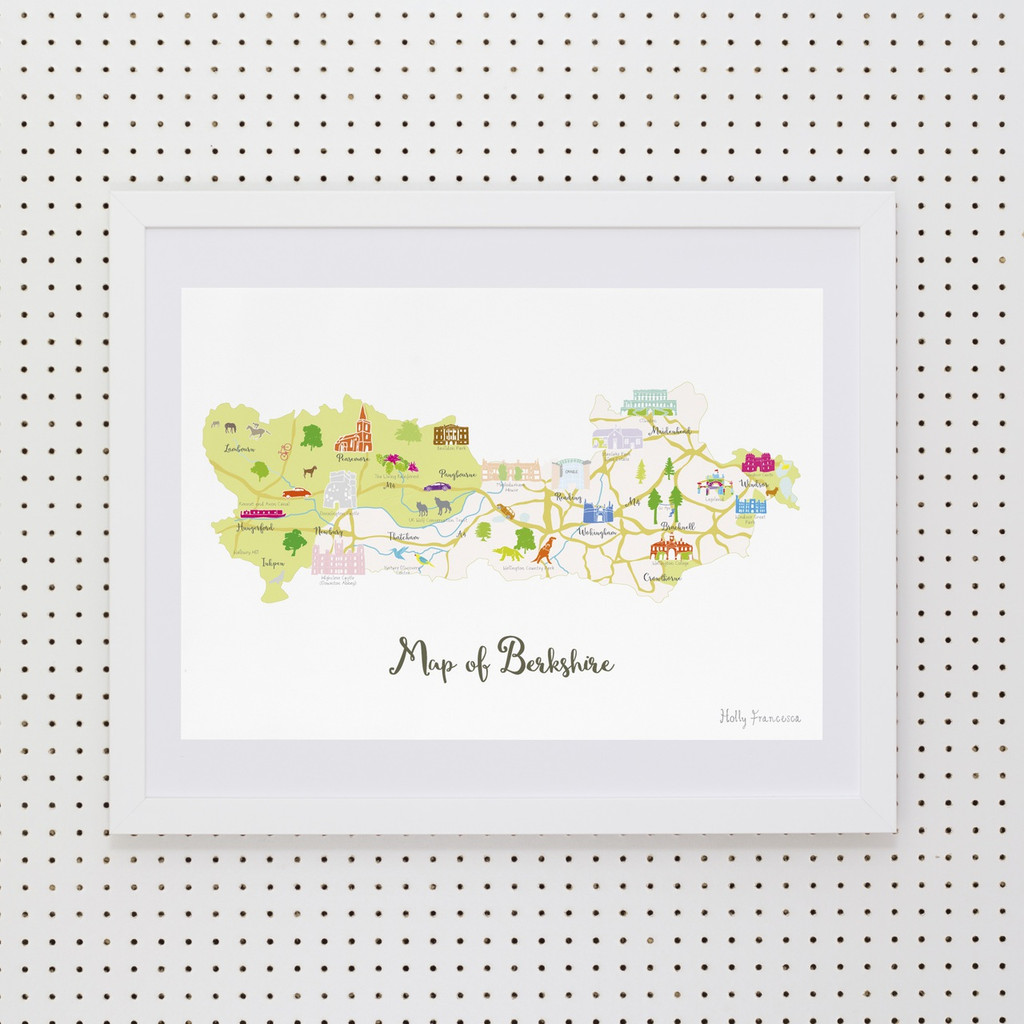 Map of Berkshire in South West England Framed print illustration
