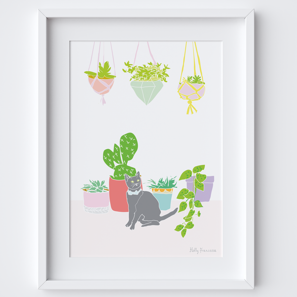 Illustrated hand drawn Cat & Cactus scene art print by artist Holly Francesca.