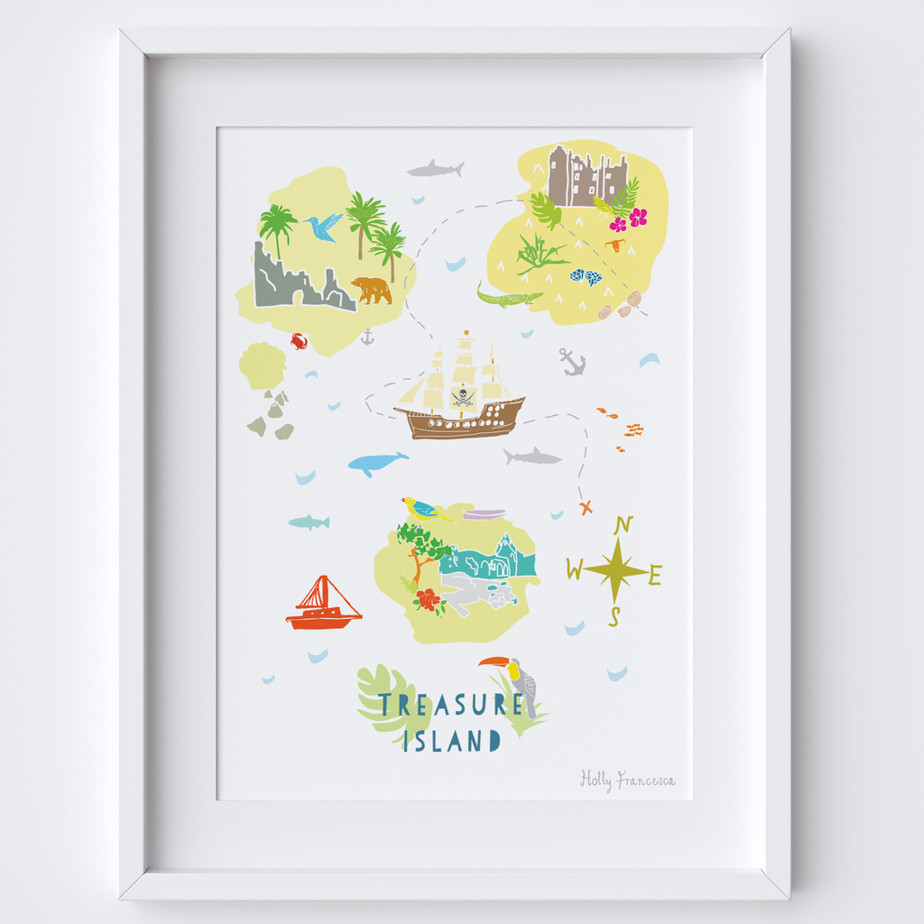 Illustrated hand drawn Treasure Island scene art print by artist Holly Francesca.