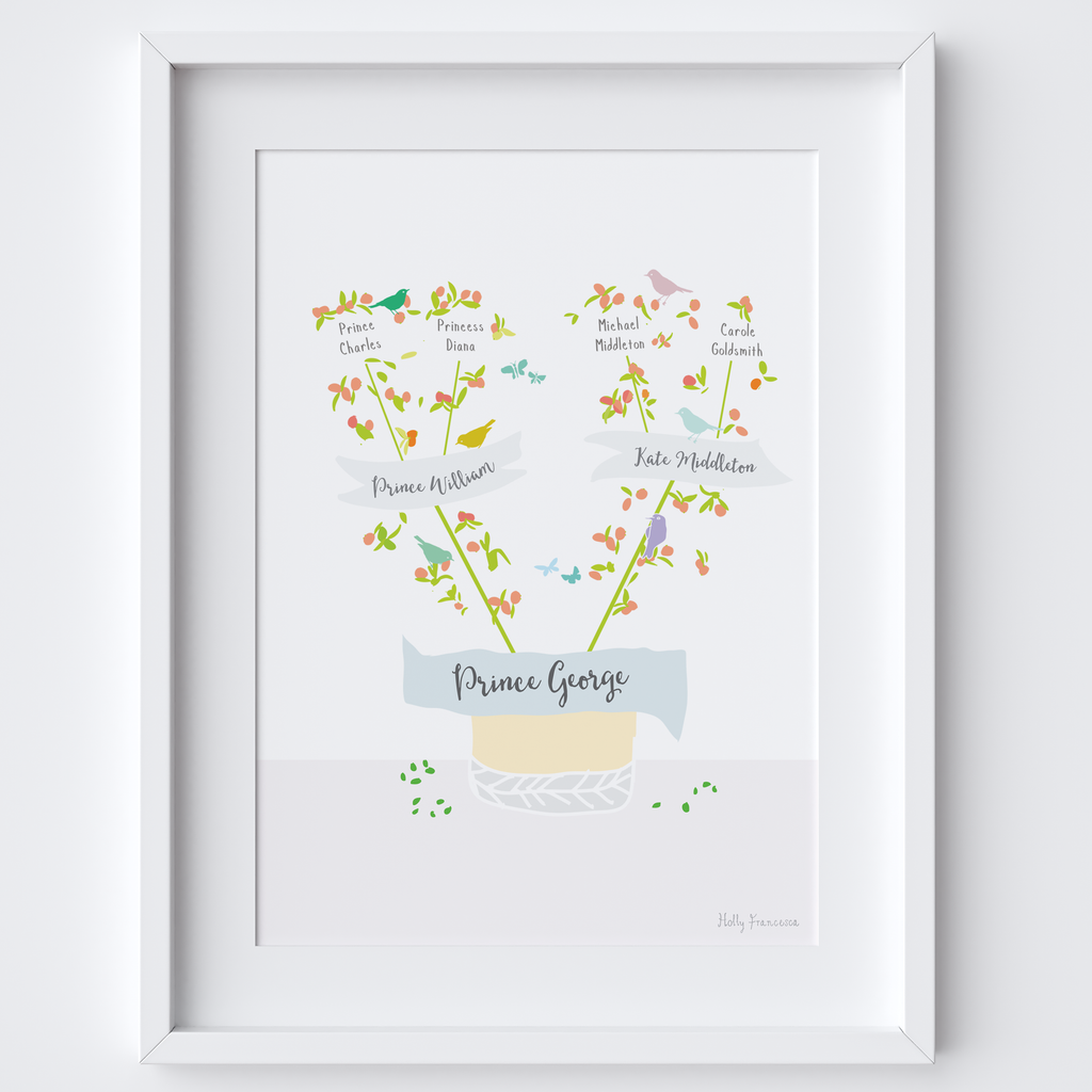 Illustration bespoke personalised - Your own family tree - Art Print (Clementine version)