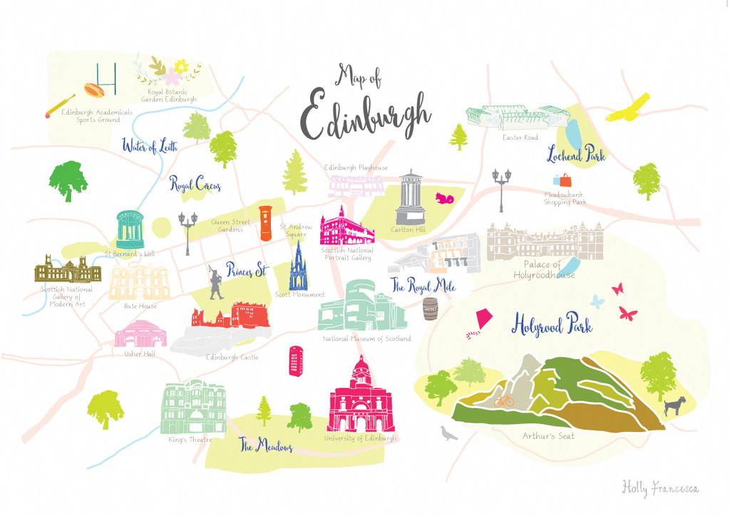 Map of Edinburgh Art Print illustration unframed by artist Holly Francesca