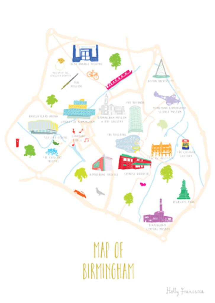 Map of Birmingham art print illustration unframed by artist Holly Francesca