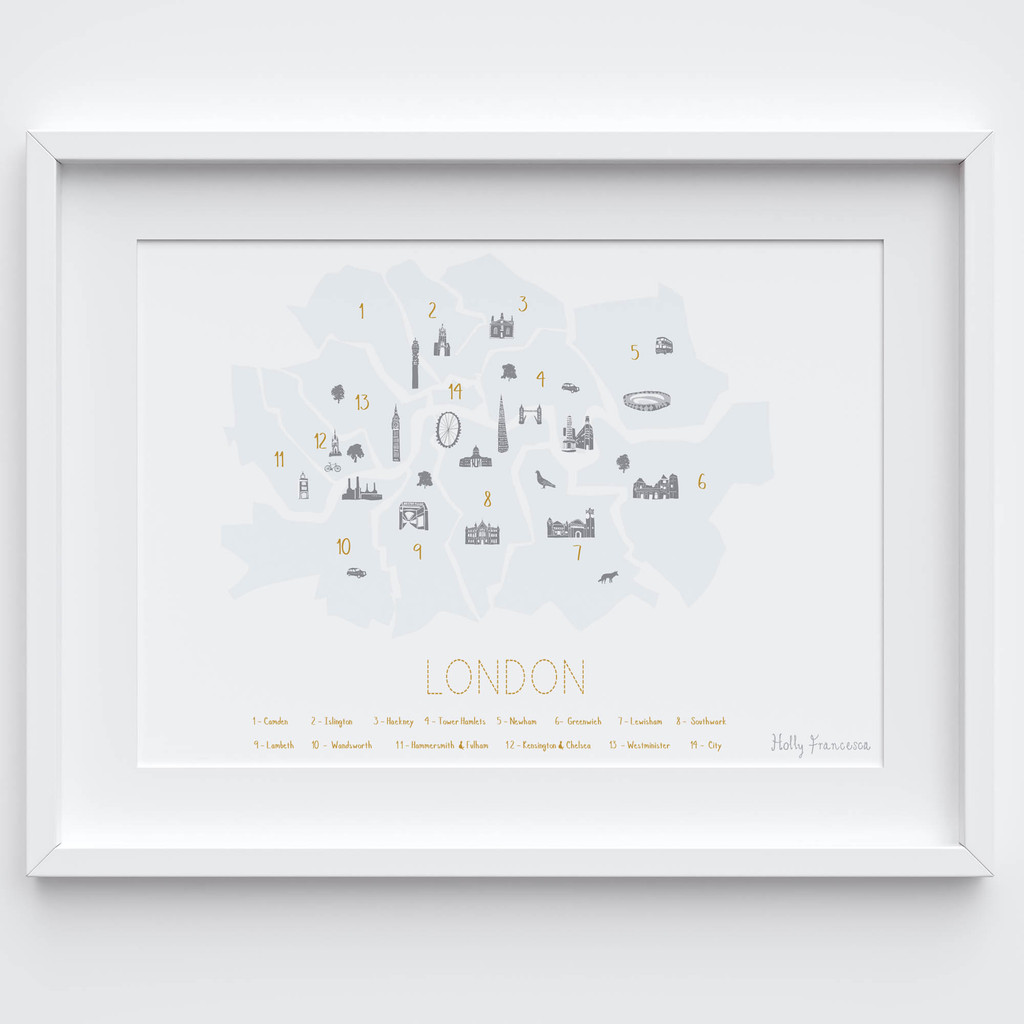 Illustrated hand drawn Map of the London Boroughs 'Minimalist' art print by artist Holly Francesca.