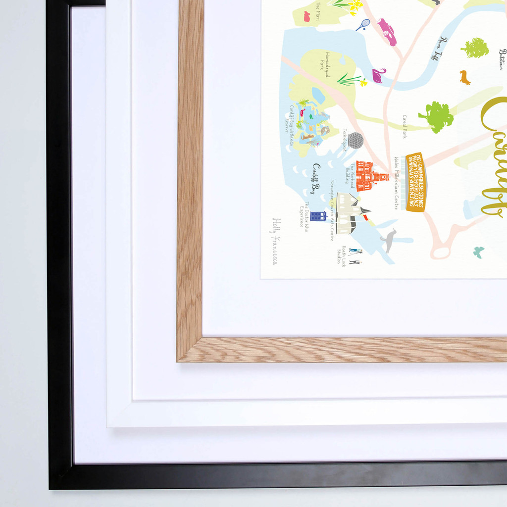 Map of Cardiff Art Print illustration framed by artist Holly Francesca