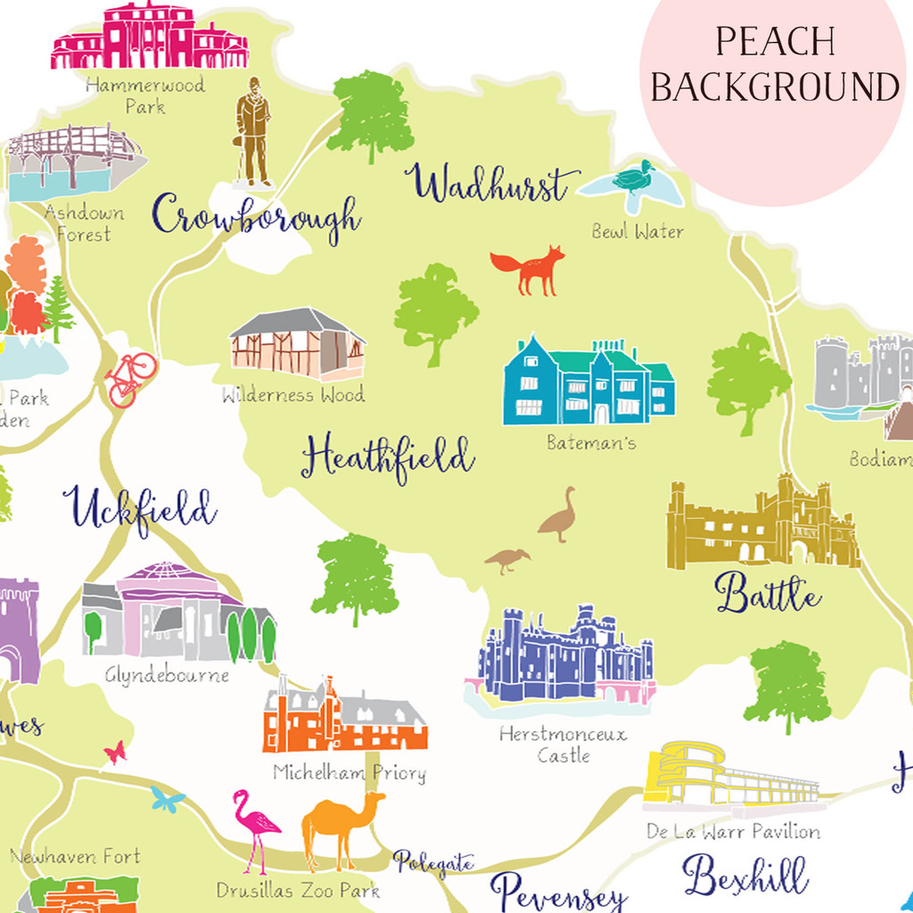 Map of East Sussex in South East England Unframed print illustration