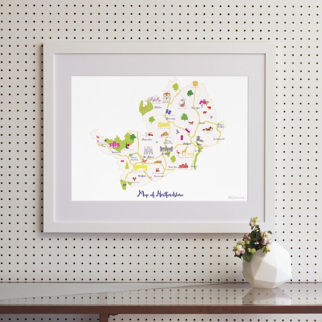 Map of Hertfordshire in South England framed print illustration