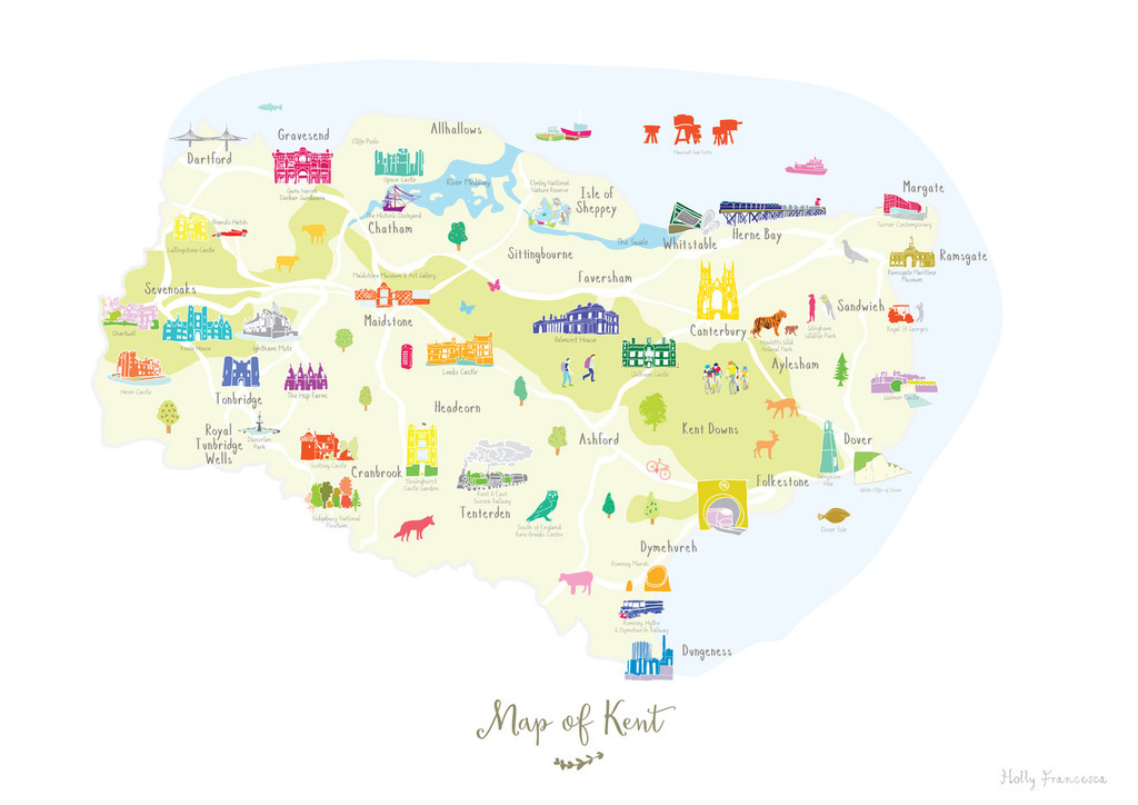 Map of Kent in South East England Unframed print illustration