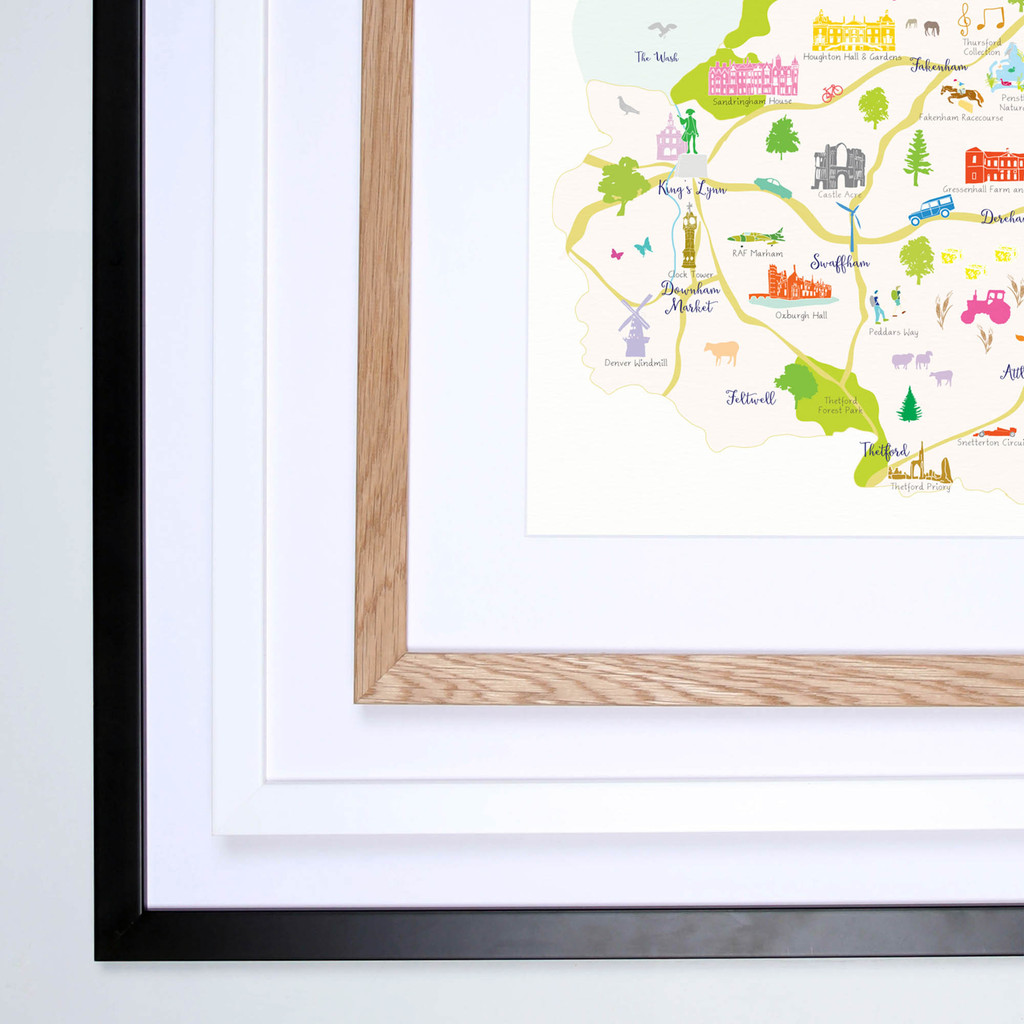 Map of Norfolk in East Anglia England framed print illustration
