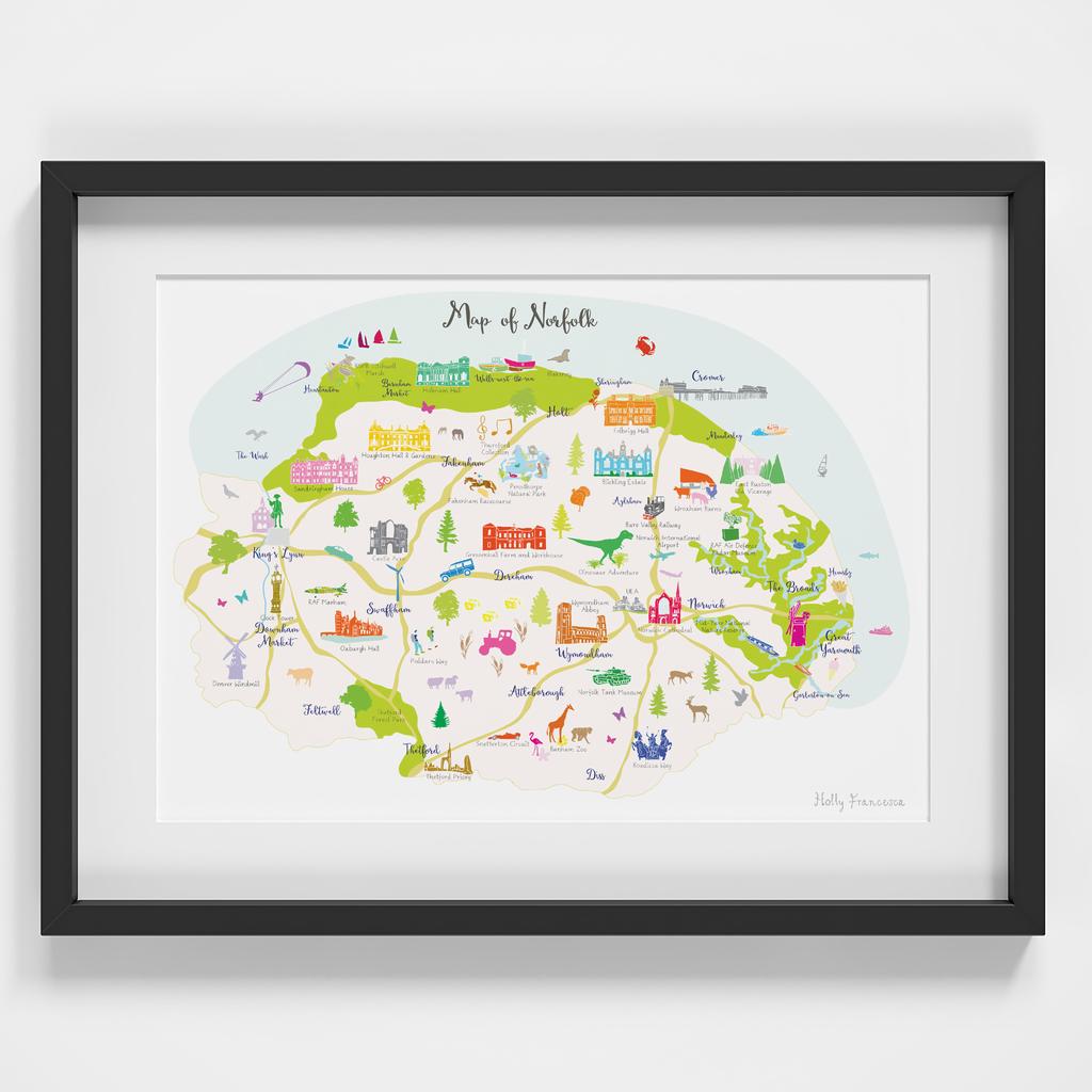 Map of Norfolk in East Anglia England framed print illustration