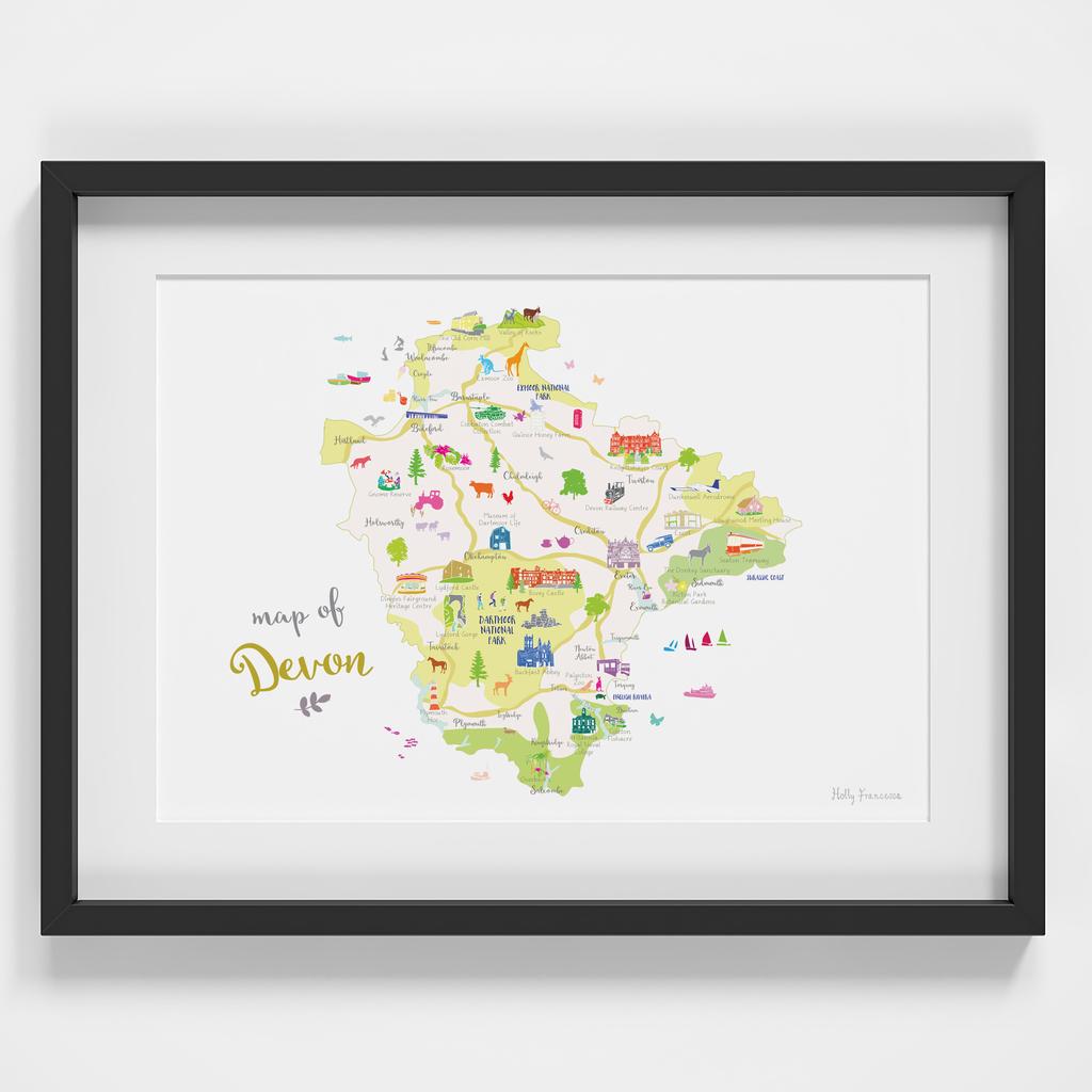 Map of Devon in South West England framed print illustration
