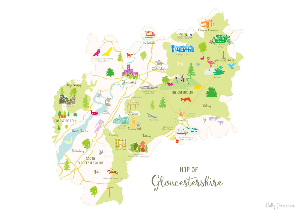 Map of Gloucestershire in The Cotswolds South West England Unframed print illustration