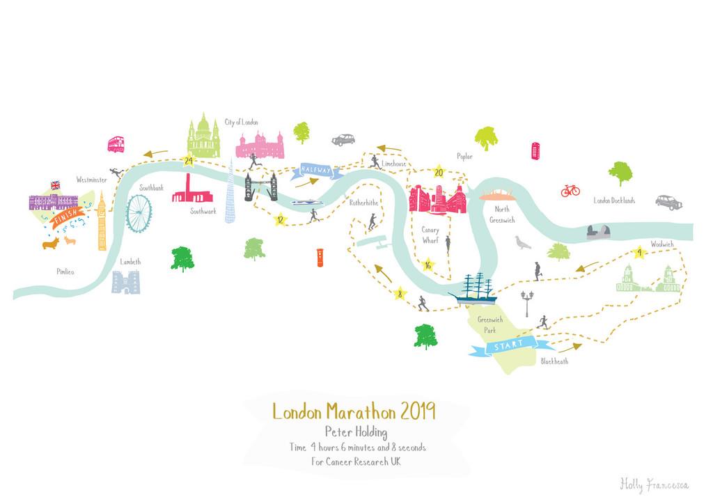 Illustrated hand drawn London Marathon Route Map art print by artist Holly Francesca.