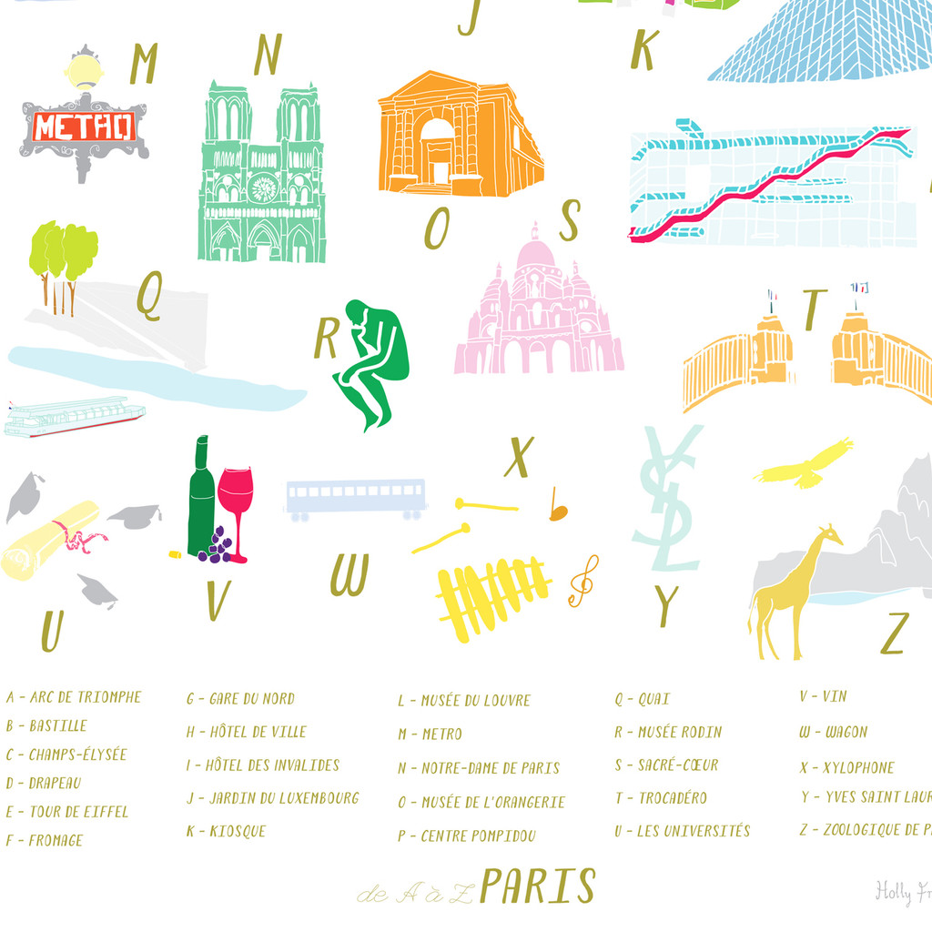 A to Z of Paris Art Print
