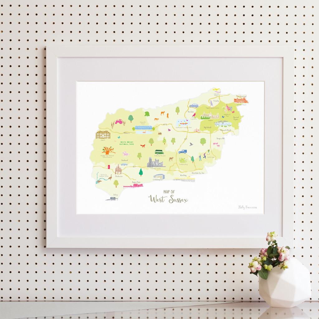 Map of West Sussex South England framed print illustration