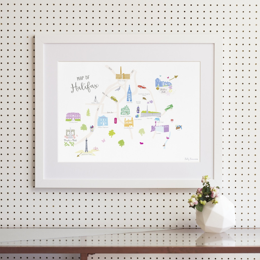 Map of Halifax Art Print illustration framed by artist Holly Francesca