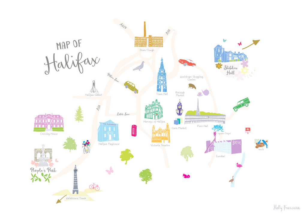 Map of Halifax Art Print illustration unframed by artist Holly Francesca