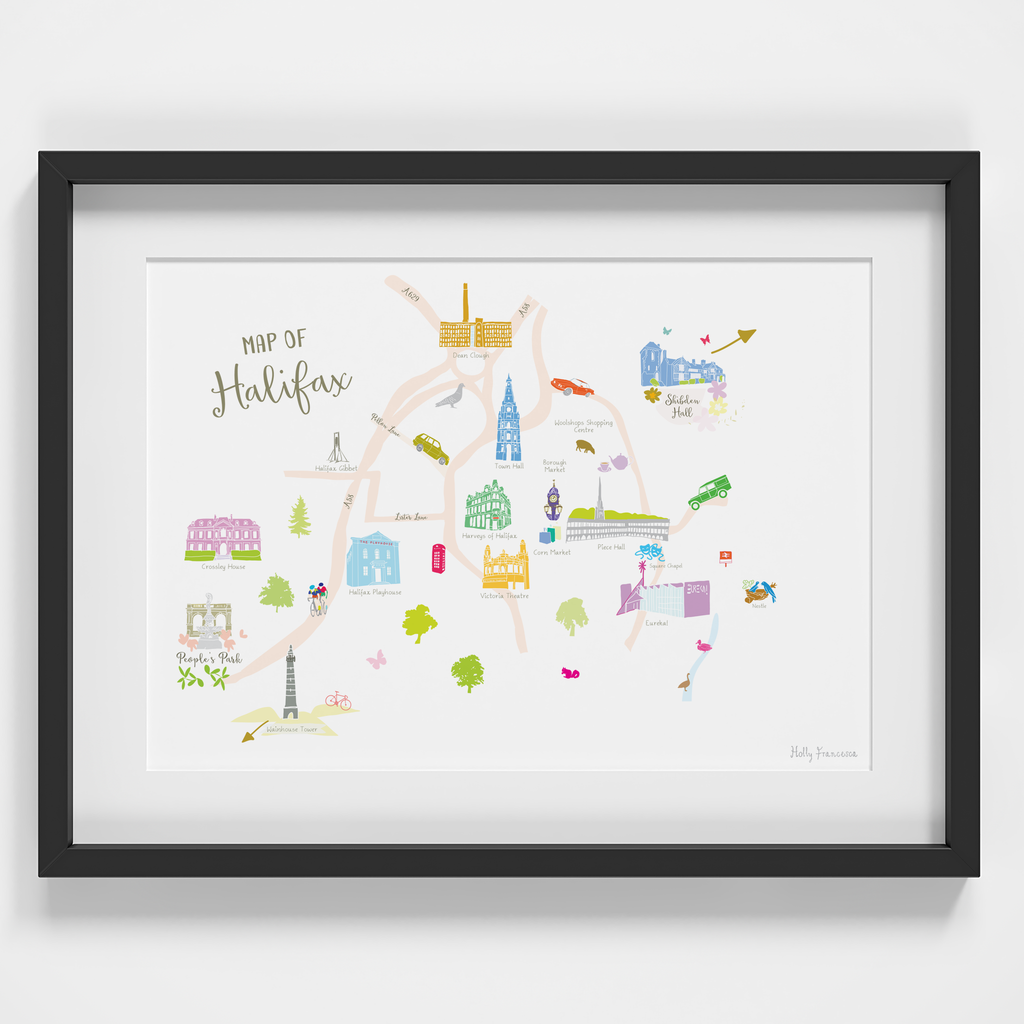 Map of Halifax Art Print illustration framed by artist Holly Francesca