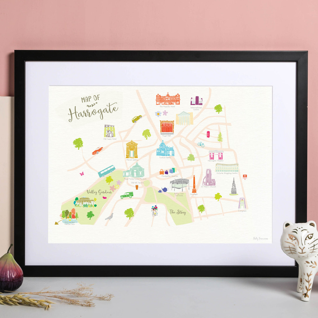 Map of Harrogate Art Print illustration by artist Holly Francesca