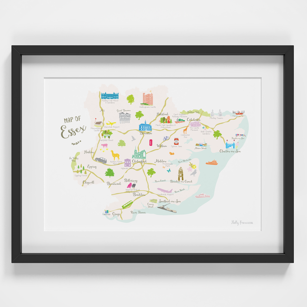 Map of Essex in East Anglia England framed print illustration