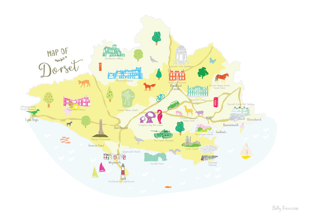 Map of Dorset in South West England Unframed print illustration