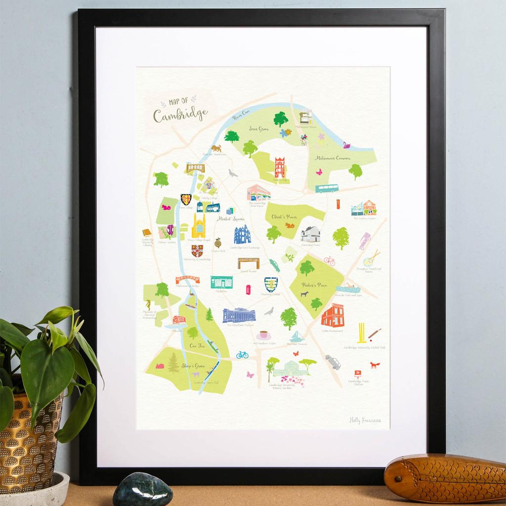 Map of Cambridge Art Print illustration framed by artist Holly Francesca