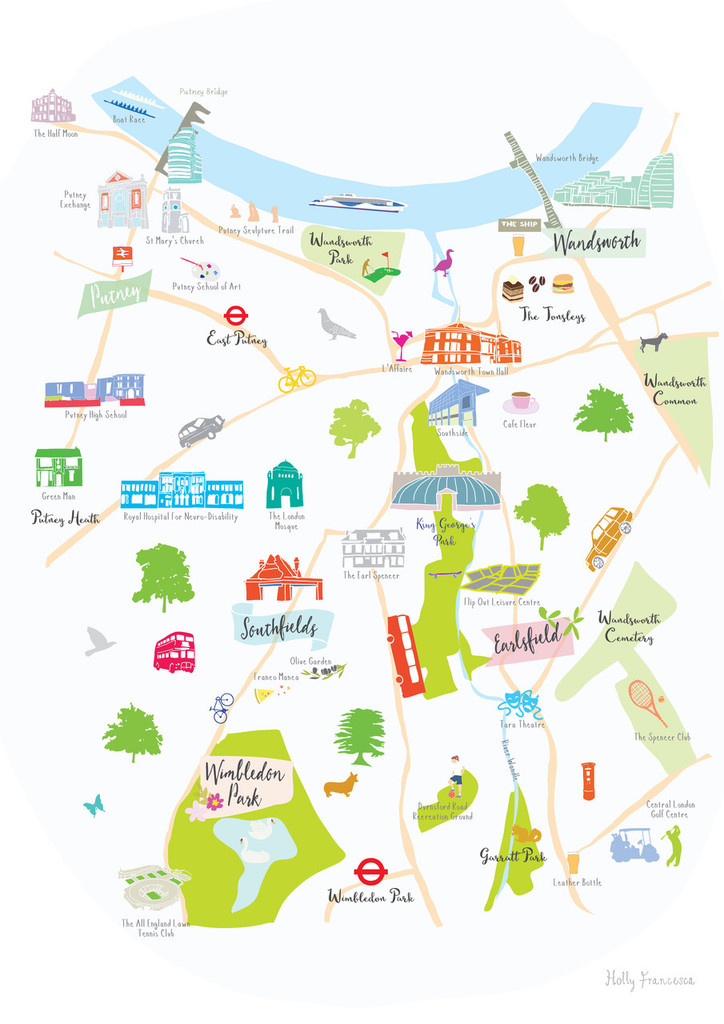 Map of Putney, Southfields, Earlsfield & Wandsworth Art Print (Various Sizes)
