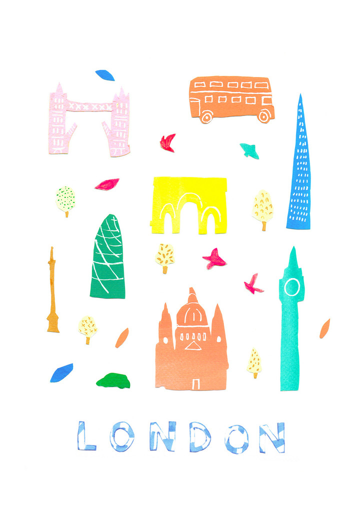 Illustrated papercut London landmark buildings art print by artist Holly Francesca.