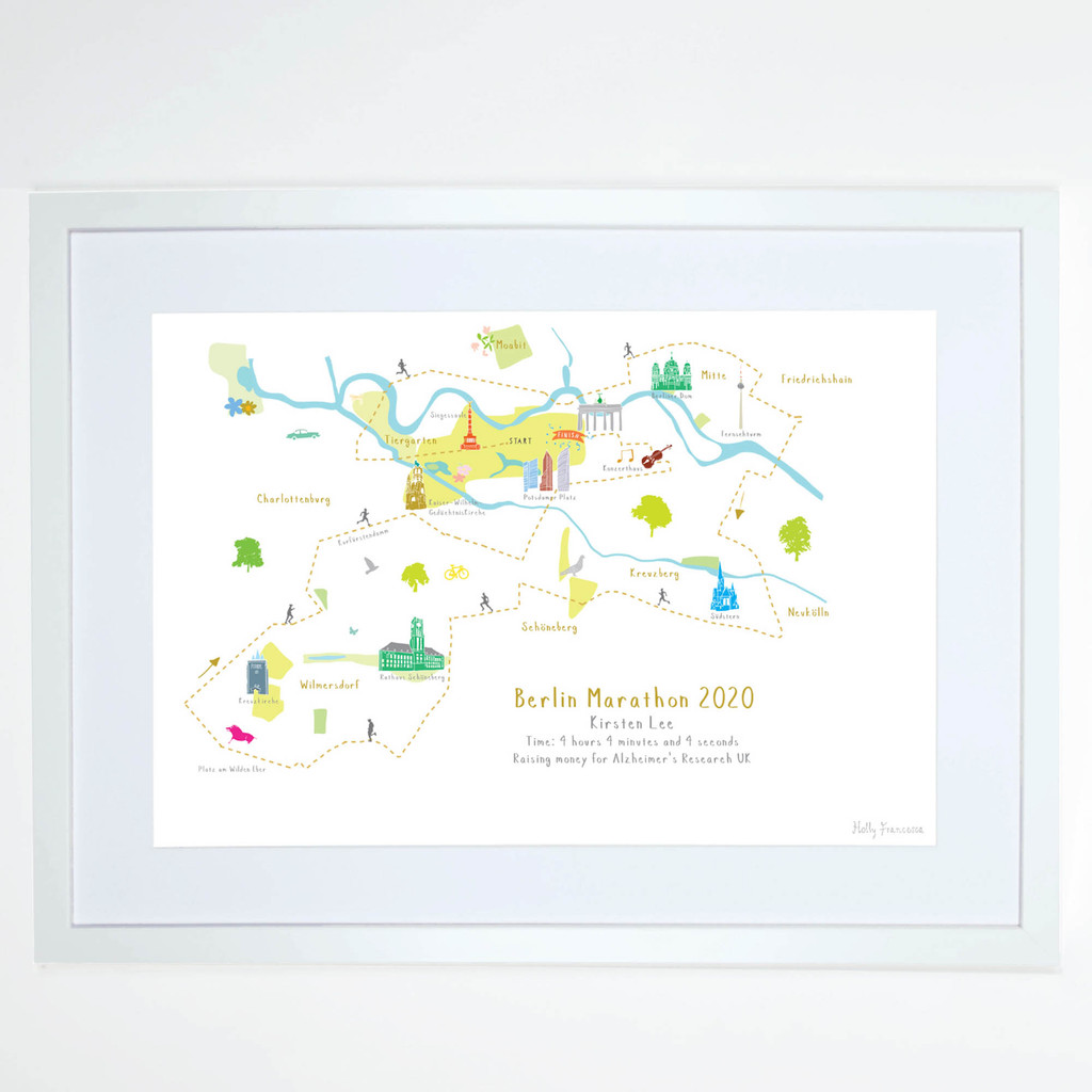 Illustrated hand drawn Berlin Marathon Route Map art print by artist Holly Francesca.