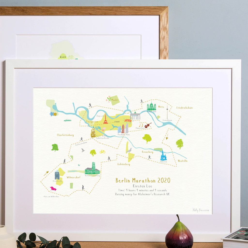 Berlin Marathon Route Map Art Print (Personalisation included)