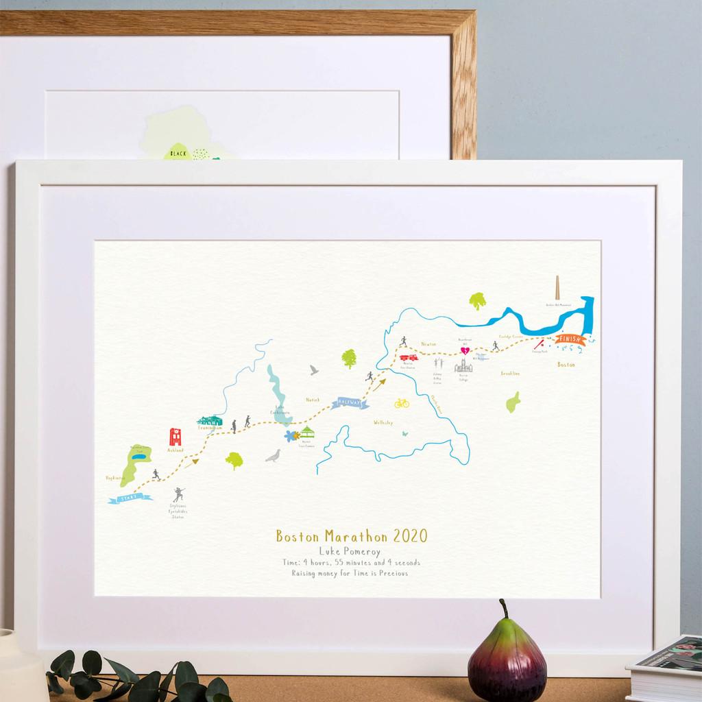 Illustrated hand drawn Boston Marathon Route Map art print by artist Holly Francesca.