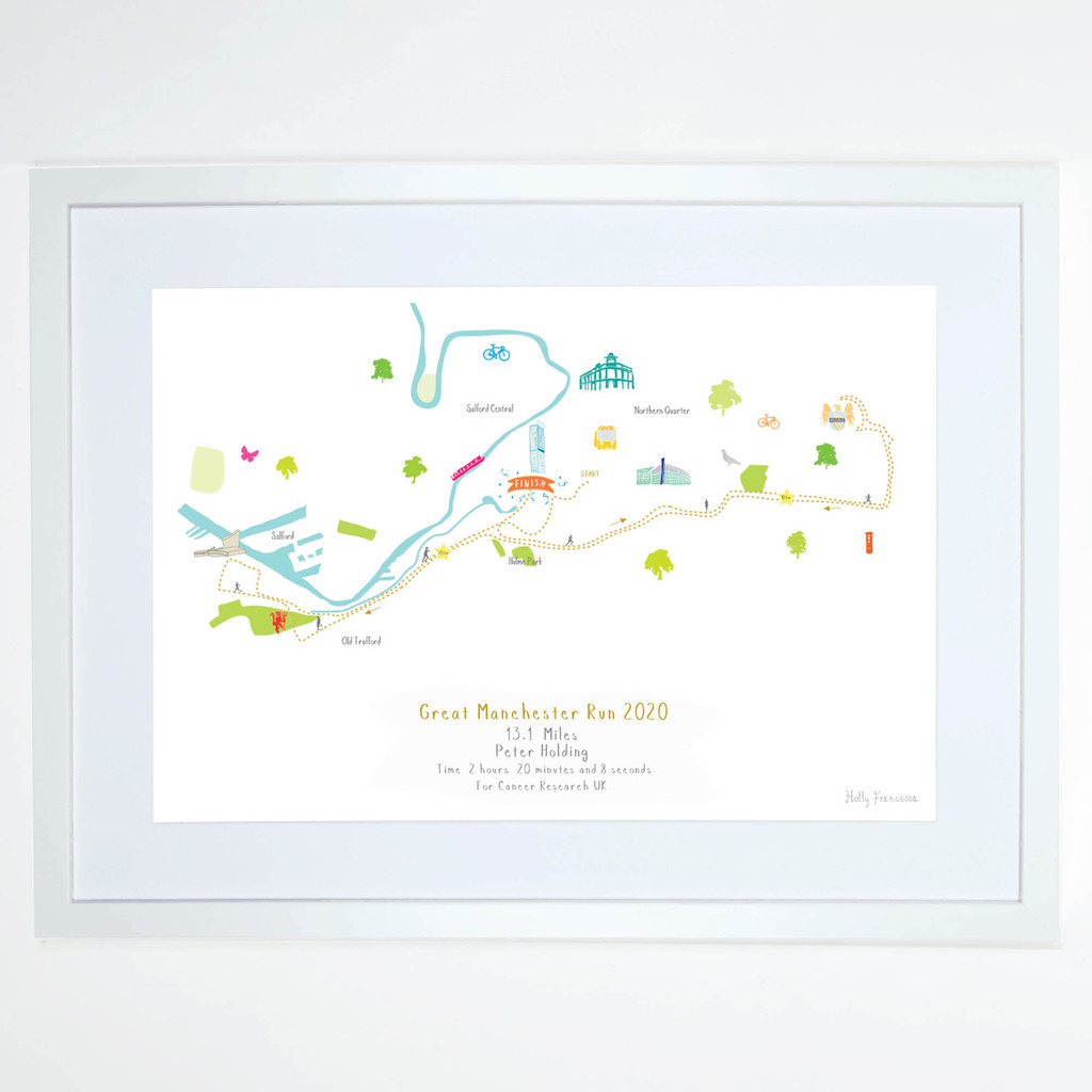 Illustrated hand drawn Great Manchester Run Half Marathon Route Map art print by artist Holly Francesca.