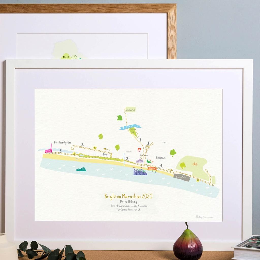 Brighton Marathon Route Map Art Print (Personalisation included)