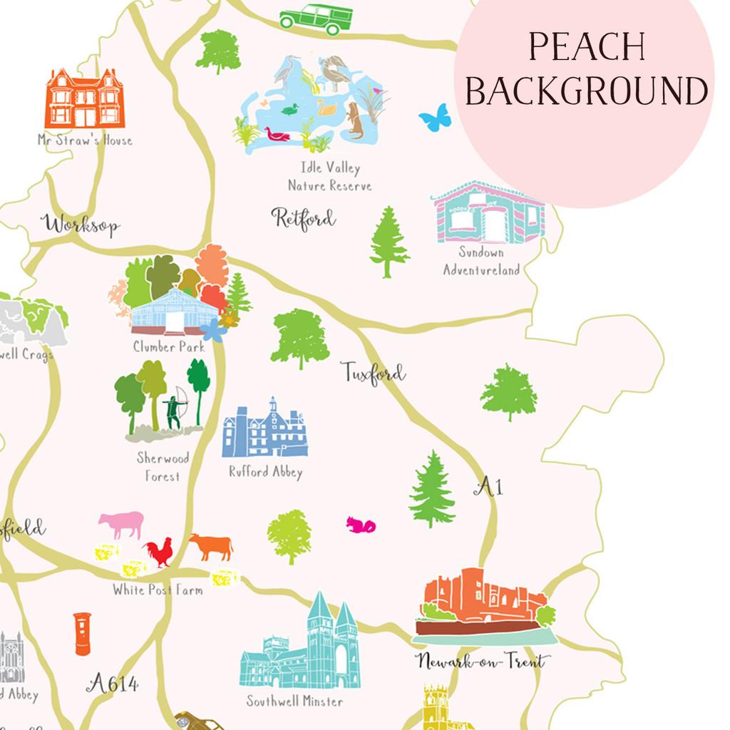 Map of Nottinghamshire The Midlands England Unframed print illustration
