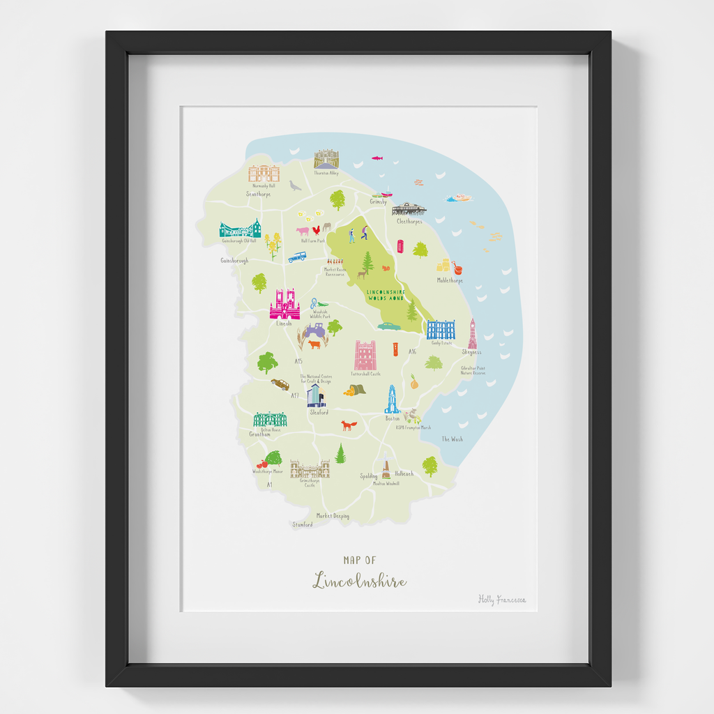 Map of Lincolnshire in East England framed print illustration