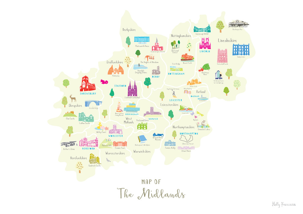 Map of The Midlands England Unframed print illustration