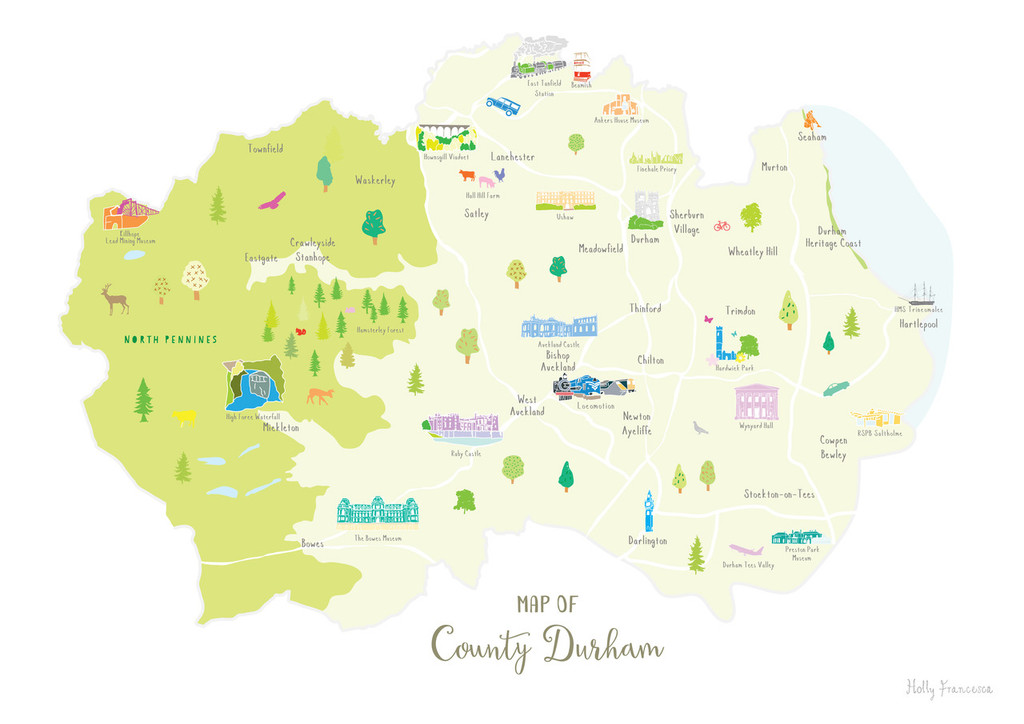 Map of County Durham in North East England unframed print illustration