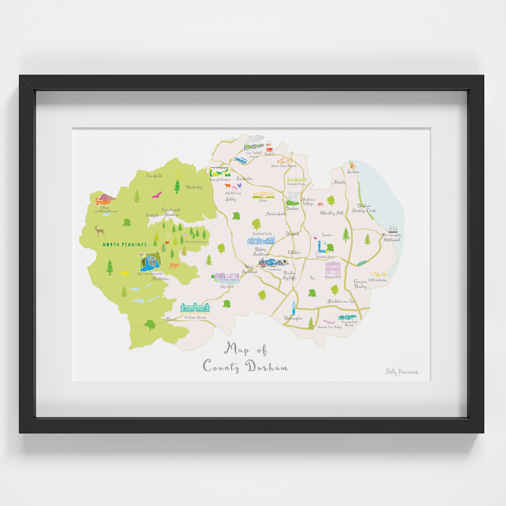 Map of County Durham in North East England framed print illustration