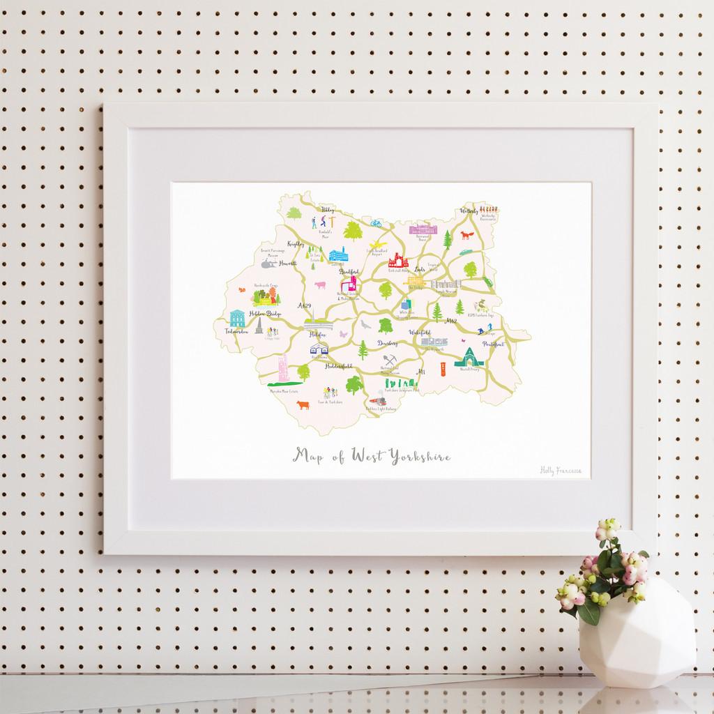 Map of West Yorkshire North West England framed print illustration