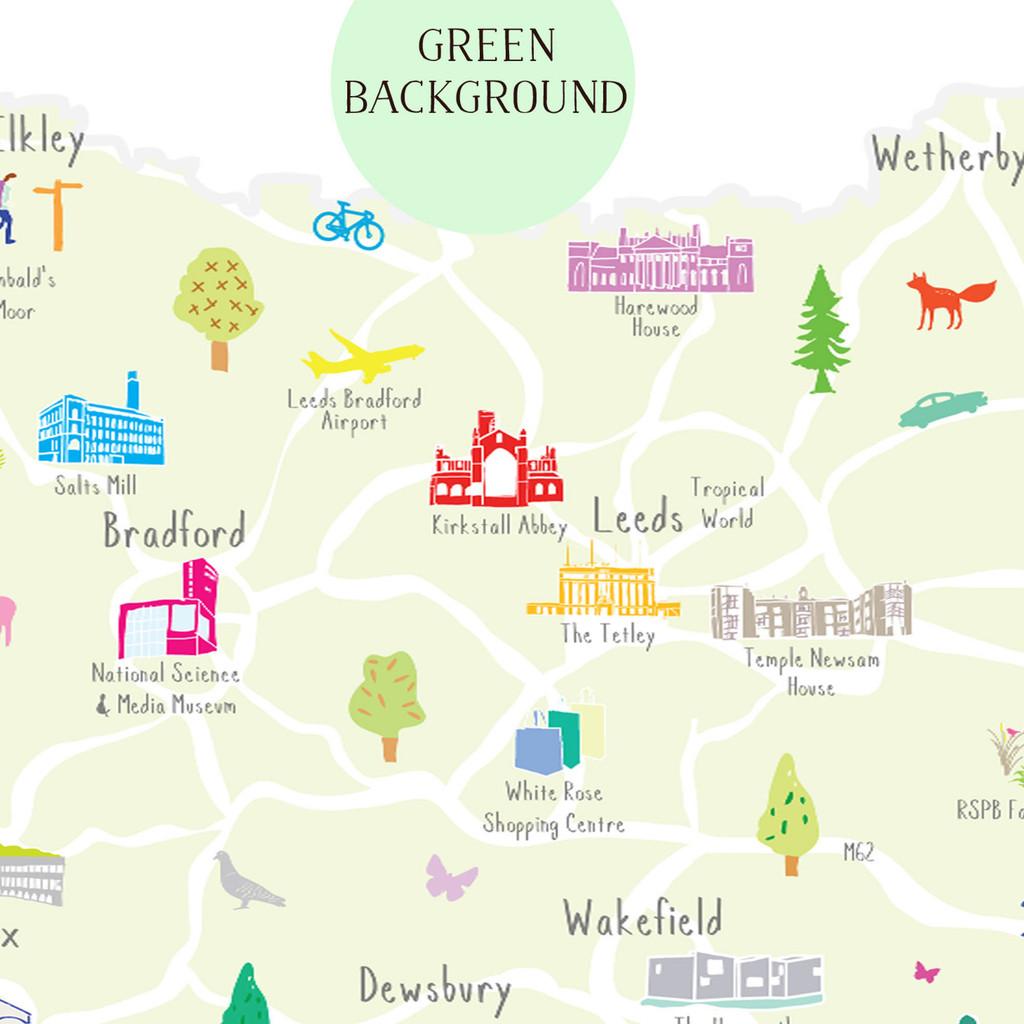 Map of West Yorkshire North West England Unframed print illustration
