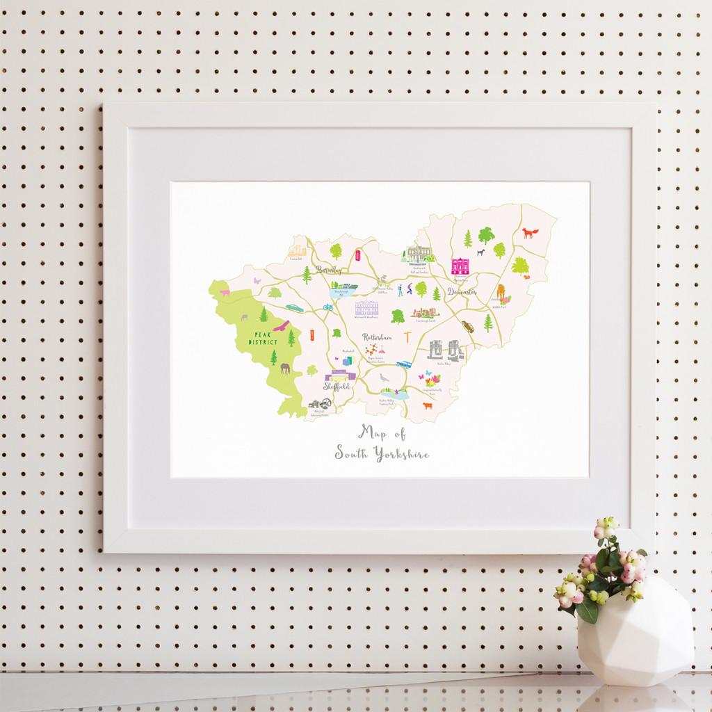 Map of South Yorkshire North England framed print illustration