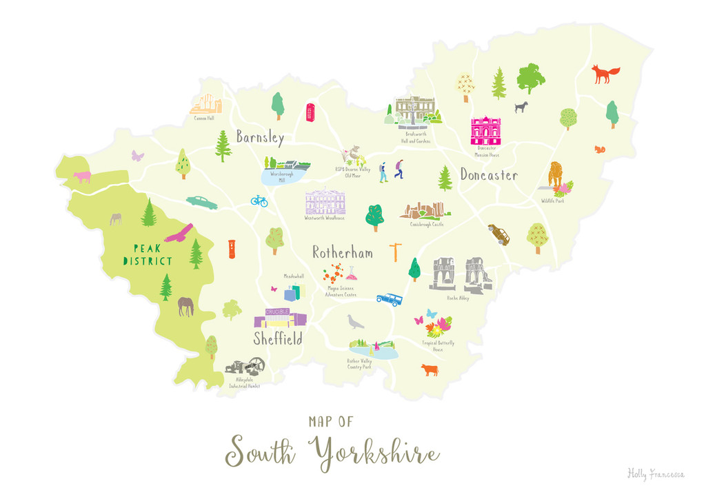 Map of South Yorkshire North England Unframed print illustration